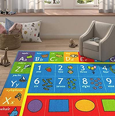 KC CUBS Playtime Collection ABC, Numbers and Shapes Educational Learning Area Rug
