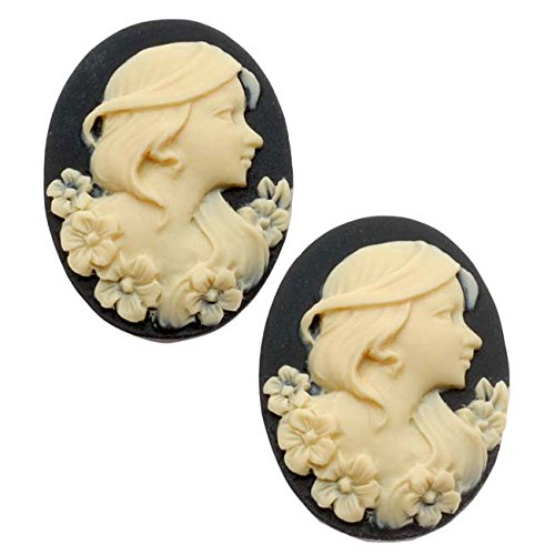 Beadaholique Lucite Oval Cameo - Black with Ivory Lady and Flowers 25x18mm (2 Pieces)