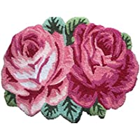 USTIDE Pink Rose Rug,Handmade Area Rugs For Living Room/Bedroom (1.97FTx2.3FT)