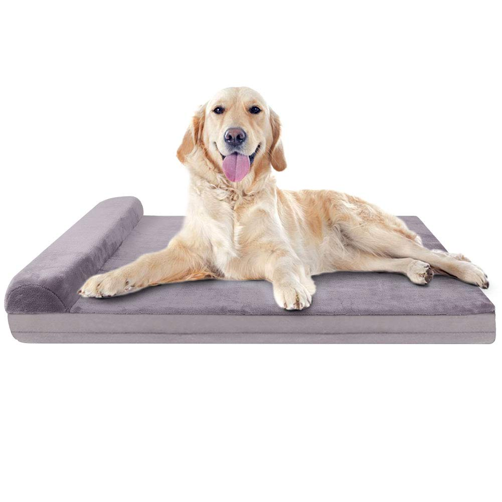 JoicyCo Dog Bed Large Orthopedic Foam Dog Bed Mat Washable Mattress with Pillow Machine Washable Cover (L, Color4)