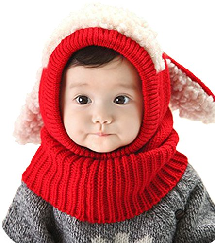 EachWell Lovely Baby Toddler Girls Boys Hooded Puppy Dog Earmuffs Knitting Wool (Knit Dog Ear Hat)