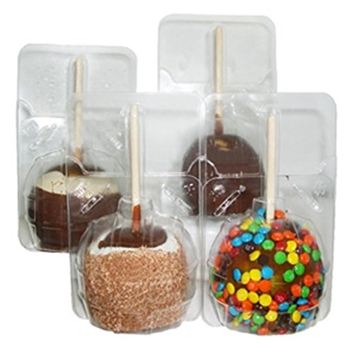 Wood Candy Box - 20 pc. Clear Large Candied Apple Containers Boxes - plus 20 Bamboo Candy and Caramel Apple Sticks wood skewer- 20 sets- Great for standard and large size apples