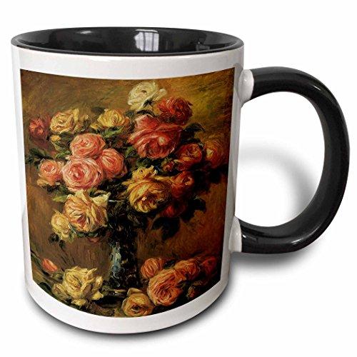 Renoir Auguste Roses Pierre - 3dRose BLN Flower Paintings Fine Art Collection - Les Roses dans un Vase by Pierre-Auguste Renoir Flower Still Life - 15oz Two-Tone Black Mug (mug_126509_9)