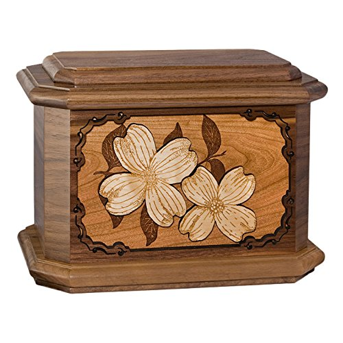 Wood Cremation Urn - Walnut Dogwood Octagon