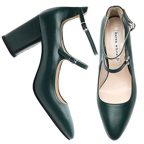 Genuine and KAREN Available Beige WHITE Green Pumps Womens High Heel Green In Leather Strappy XqXRp