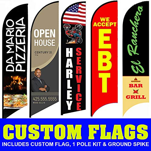 Custom Advertising Flags | Swooper Flag Banners Tall Outdoor Flag Banners for Advertising (15 FT, Two Sided)