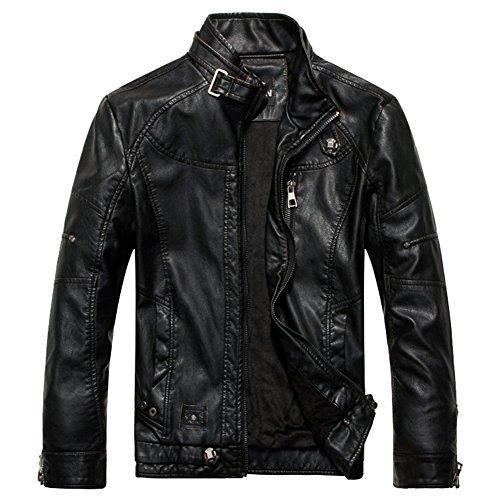 Abrigo sintética de LOCOMO Vintage piel Biker Moto motocicleta hombres negro los FMJ001LBRNL Chaqueta x4qzw