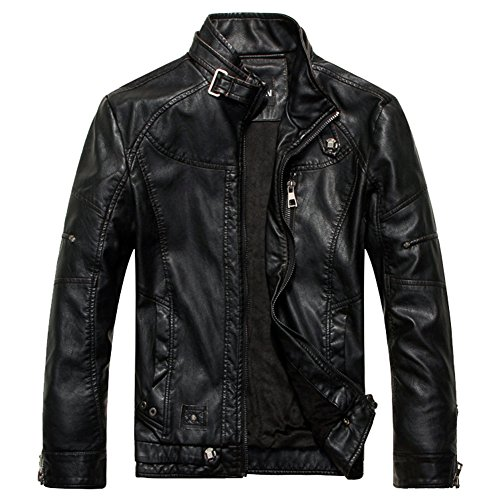 LOCOMO Men Faux Leather Moto Motorcycle Biker Vintage Coat Jacket FMJ001BLKM