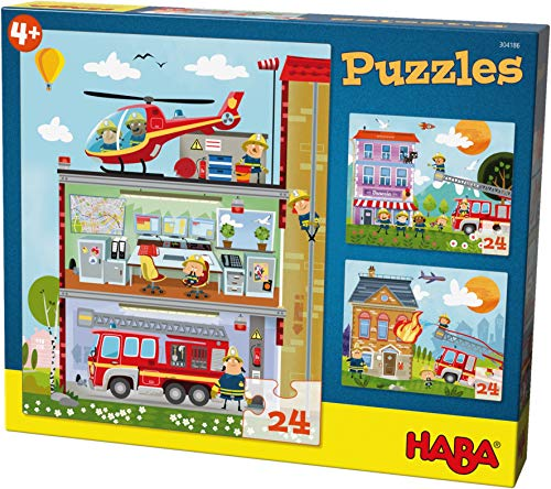 HABA Puzzles Little Fire Brigade. 3 Designs Each with 24 Pieces 304186 ()