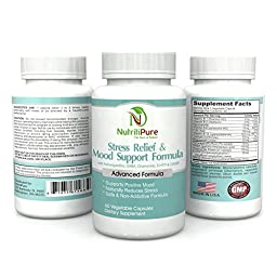 Powerful Natural Fast Acting Stress & Panic Relief Supplement - Non-Addictive Mood Support Formula - Made of Top Quality Vitamins & Herbs - 60 Veggie Capsules