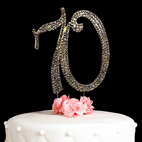 70-Cake-Topper-for-70-Years-Birthday-Or-70TH-Wedding-Anniversary-Gold-Crystal-Rhinestone-Party-Decoration-Gold