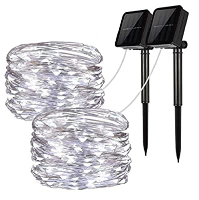 Solar String Lights, 2 Pack 100 LED Solar Fairy Lights 33 Feet 8 Modes Copper Wire Lights Waterproof Outdoor String Lights for Garden Patio Gate Yard Party Wedding Indoor Bedroom
