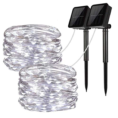 (Solar String Lights, 2 Pack 100 LED Solar Fairy Lights 33 feet 8 Modes Copper Wire Lights Waterproof Outdoor String Lights for Garden Patio Gate Yard Party Wedding Indoor Bedroom Cool White - LiyanQ)