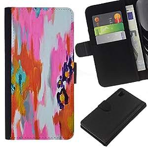 iBinBang / Flip Funda de Cuero Case Cover - Pintura abstracta de la acuarela anaranjada rosada - Sony Xperia Z1 L39H