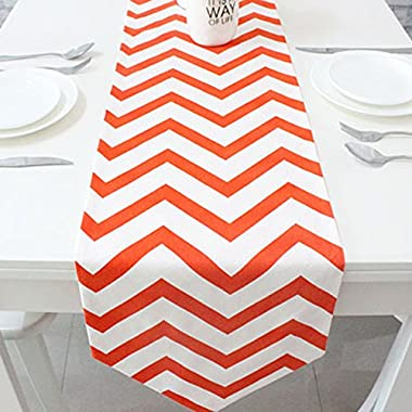 Uphome 1pc Classical Chevron Zig Zag Pattern Table Runner - Cotton Canvas Fabric Table Top Decoration (12 W x 78 L, Orange)