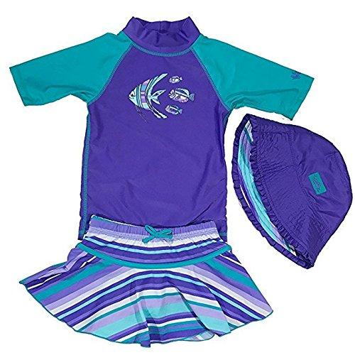 UV Skinz Girls 3-piece Swim Set. UPF 50+ Sun Protection Swim Set (12-18 Months, Purple Fish)
