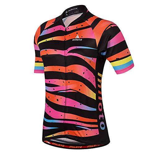 MILOTO Women's Cycling Jersey Short Sleeve Reflective Biking Tops (M, Tiger Stripe)