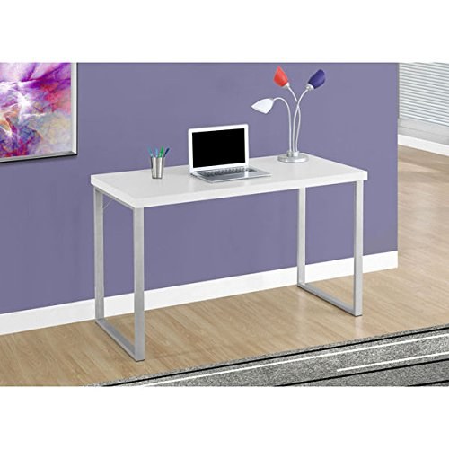 Computer Desk-48''L/White/Silver Metal by Monarch