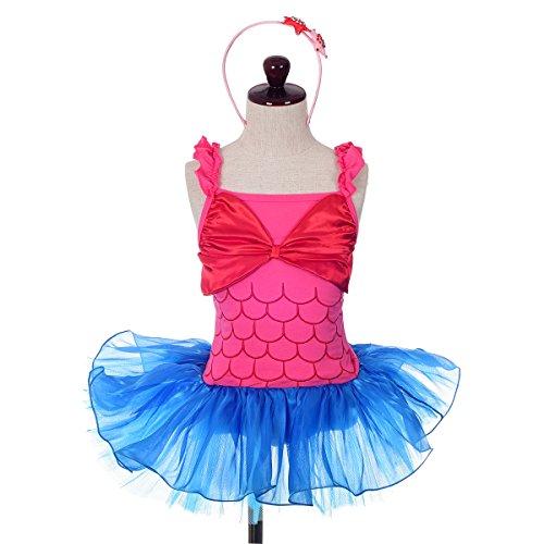 [Dressy Daisy Girls' Mermaid Costumes w/ Headband Fancy Party Dress Cosplay Dancewear Size 5-6] (Little Mermaid Tutu Dress)
