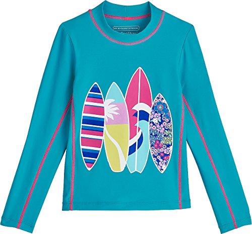Coolibar UPF 50+ Kids' Long Sleeve Surf Shirt - Sun Protective (Large- Tropical - Surfboard Tropical