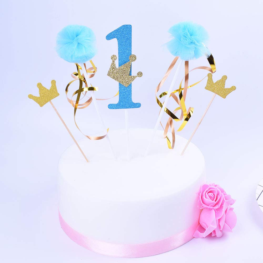 SHAMI First Birthday Cake Toppers, Happy Birthday Cake Bunting Topper Crown Cake Topper 1th Cake Topper, Birthday Party Decoration Supplies Gold Glittery Handmade (Blue Birthday Party Decoration Supplies Gold Glittery Handmade /(Blue