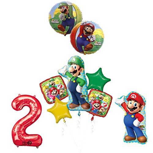 The ULTIMATE Super Mario Brothers and Luigi 2nd Birthday Party Supplies Decorations