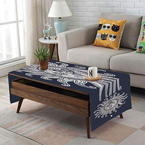 iPrint Linen Blend Tablecloth,Side Pocket Design,Rectangular Coffee Table Pad,Sun and Moon,Love and Romance in Sky Eclipse at Midnight Themed Folk Elements Vintage,Dark Blue White,for Home ()