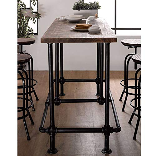 Articial Adjustable Rustic Industrial Bar Stool Swivel Pine Wood Top Metal Frame Bar Chair Footrest Leisure Coffee Chair by Articial (Image #3)