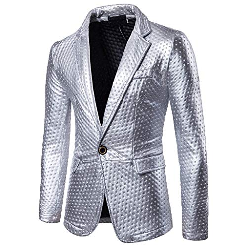 Allywit Luxury Men's Fashion Self-Cultivation and Bright-Faced Suit Pure Color Coat Silver]()