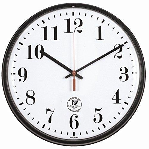 "Chicago Lighthouse Slimline Atomic Wall Clock, Black, 12.75"""