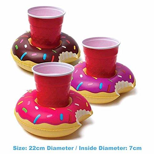 4 pcs Juguetes Flotantes Posavasos,Hoyoo,Flotadores de Piscina,Soportes para Bebidas Rosquilla,Flotador Posavasos con Rosquilla Titular de la Taza ,Coca ...