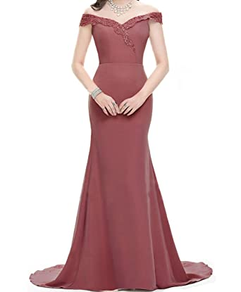 7209f4d1 Asoiree Women's Lace Mermaid Evening Prom Gowns Off Shoulder Formal Dresses  Sweetheart Sleeves