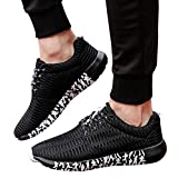 Men's Breathable Lightweight Fashion Sneakers Athletic Lace-Up Comfortable Mountaineering Running Shoes (Black, US:8.0)