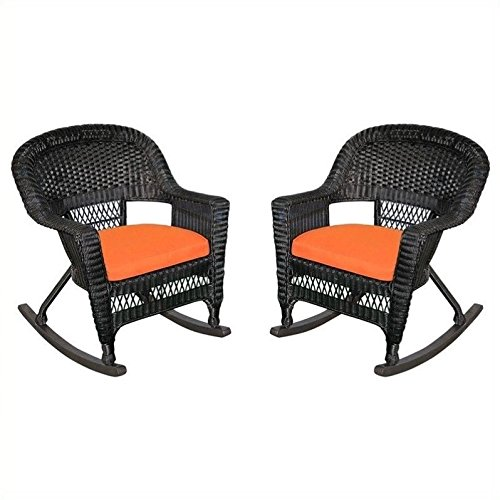 Jeco W00207R-D_2-FS016 Rocker Wicker Chair with Orange...