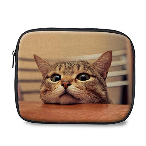 Instantarts Cute Cat Printed Elegant Carrying Laptop Bag Sleeve Case for IPad Mini/Samsung/Microsoft ()