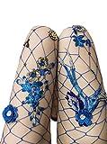 Women's High Waist Fishnet Stockings Sparkle Rhinestone Tights of MERYLURE (One Size, Blue Flower)