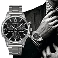 Big Promotion! Auwer Watch, Mens Fashion Crystal Stainless Steel Analog Quartz Wristwatch Simple Clock (Black)