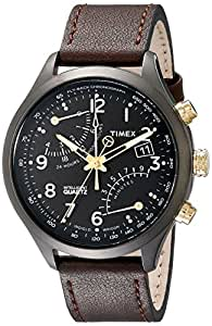 "Timex Men's T2N931DH ""Intelligent Quartz"" Stainless Steel Watch with Brown Leather Band"