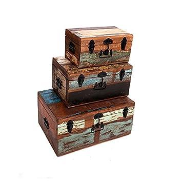 Indhouse - Set de tres maletas vintage en madera de mango: Amazon.es: Hogar