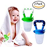 Image of Hibery 2 Pack Baby Food Feeder, Baby Fruit Net, Fresh Food Feeding Nipple, Fruit Teether, Silicone Feeder with Fresh Food
