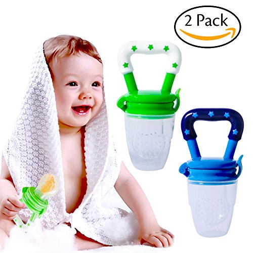 Hibery 2 Pack Baby Food Feeder, Baby Fruit Net, Fresh Food Feeding Nipple, Fruit Teether, Silicone Feeder with Fresh (Food Net)