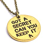 Gold Color - Pretty Little Liars - Got a Secret Can You Keep It - Pendant Necklace Charm for Girls
