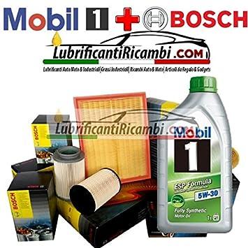Kit Tagliando 4 filtros Bosch + 5lt Aceite Mobil 1 ESP 5 W30 (1457429192, 1457070007 o 1457070008, 1987429404, 1987432397): Amazon.es: Coche y moto