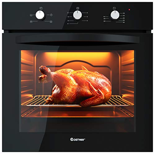"Price comparison product image COSTWAY 24"" Built-In Single Wall Oven Electric 2.5 Cu. Ft. Capacity Tempered Glass Multi-Function European Convection Oven with Push Buttons Control(4-Functions)"