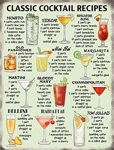 Classic Cocktail Recipes large steel sign 16 x 12 og