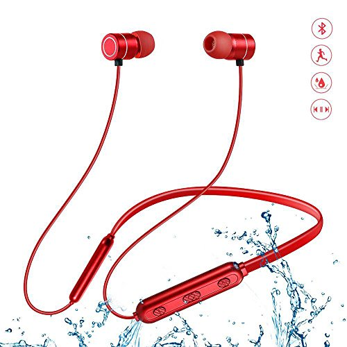 Wireless Earphones, Magnetic Bluetooth Headphones with Mic Waterproof HD Stereo Earbuds Noise Cancelling in-Ear Non-Slip Headphones Sports Headsets (Red)