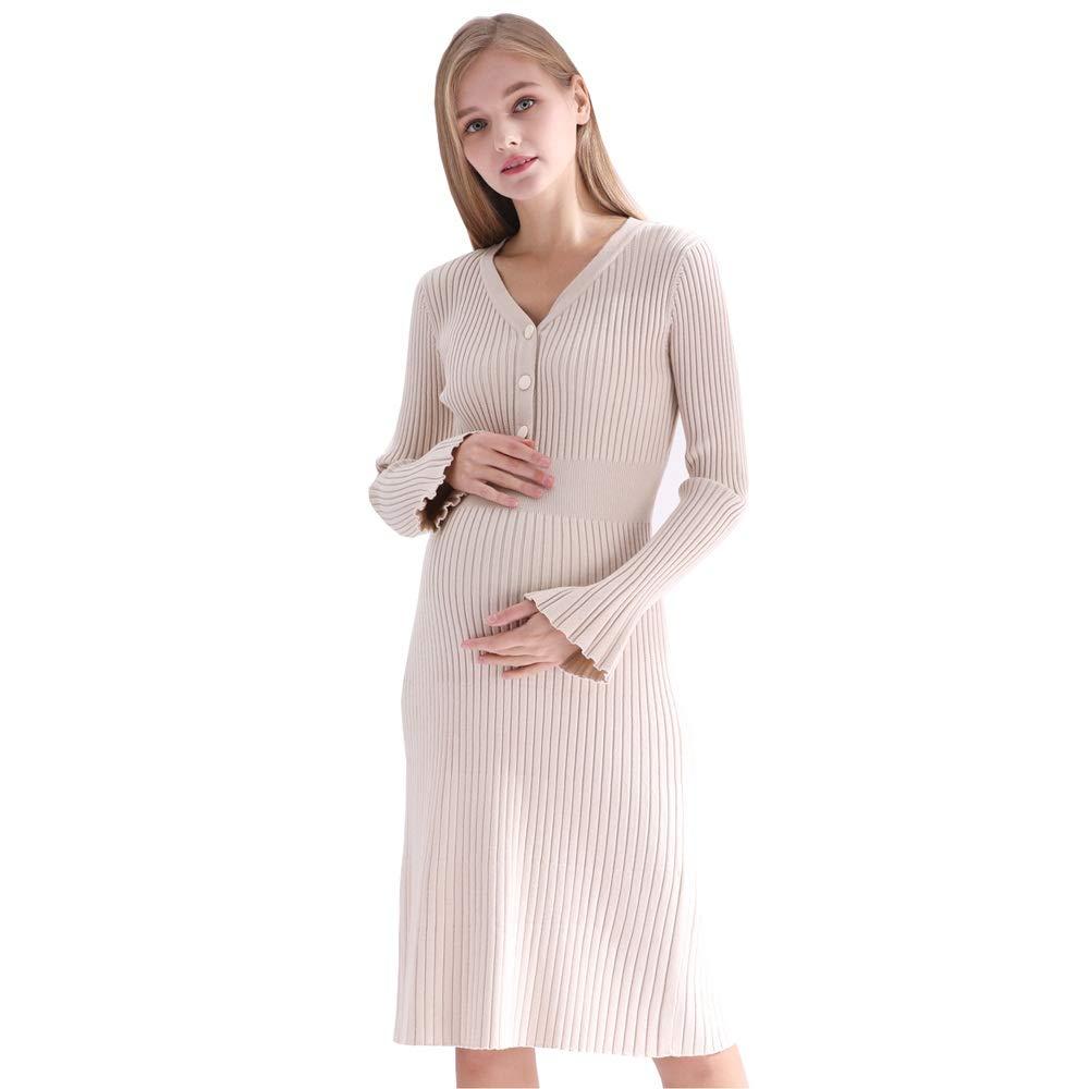 GAOJIE 妊娠中の女性は冬の新しい長い母乳育児のマタニティドレスをドレスアップ (色 : アプリコット)  アプリコット B07NWLQ6KW