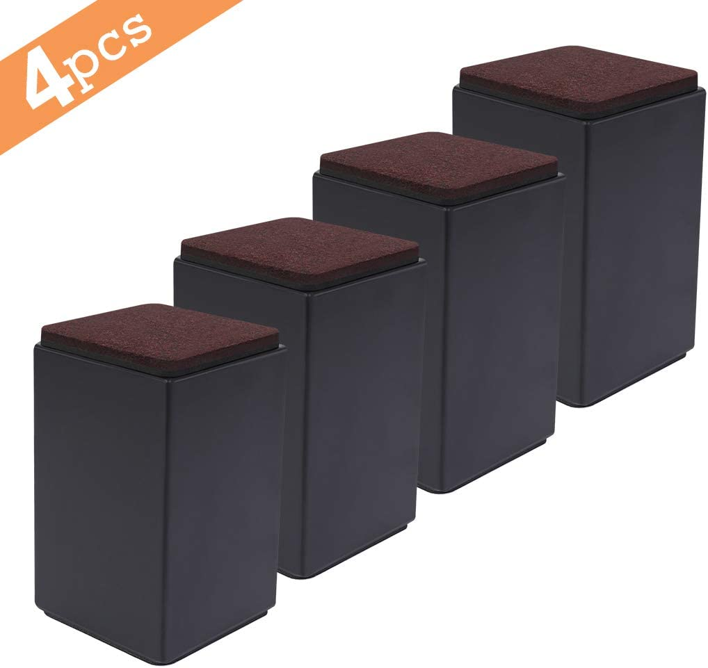 "Set of 4 Bed Furniture Risers - Lifts Height 4"" - Heavy Duty Solid Steel Risers for Sofa, Table, Chair with Non-Slip Bottom Felt Pad, Protect Floors and Surfaces, Square Black"
