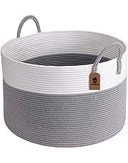 "Goodpick XXXLarge Cotton Rope Basket -Woven Rope Basket Wide 21"" x 14"" Blanket Storage Basket with Long Handles Decorative Clothes Hamper Basket Extra Large Baskets for Blankets"
