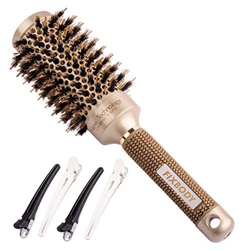 FIXBODY Round Barrel Anti-Static Hair Brush with Boar Bristles, Nano Thermal Ceramic Coating & Ionic for Hair Blow Drying, Styling, Curling, Straightening, Add Volume & Shine (3